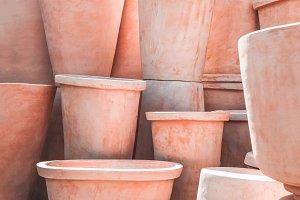 Texture of clay flowerpots