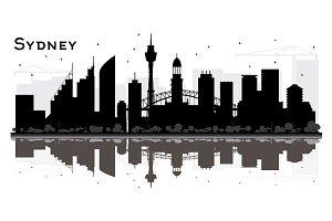 Sydney City Skyline Silhouette
