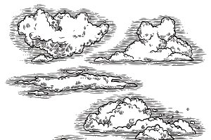 Hand drawn clouds icons set