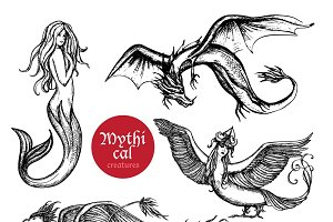 Mythical creatures hand drawn set