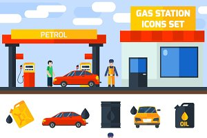 Gas petrol station icons collection