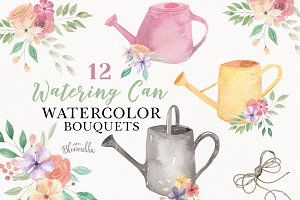 Watering Can Flowers Clipart Spring
