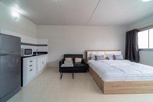Luxury Interior bedroom with leather
