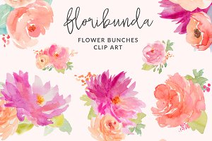 Floribunda Watercolor Flowers