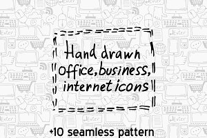 Hand drawn icons+patterns