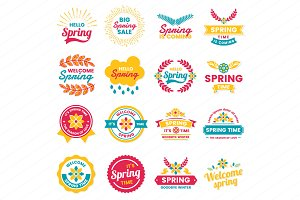 Spring Badge & Objects Vector Set