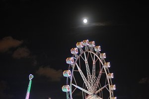 Ferris wheel with full moon