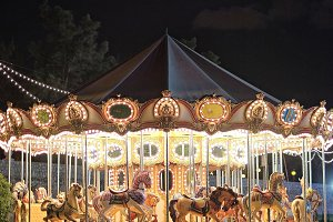 Vintage carousel at night