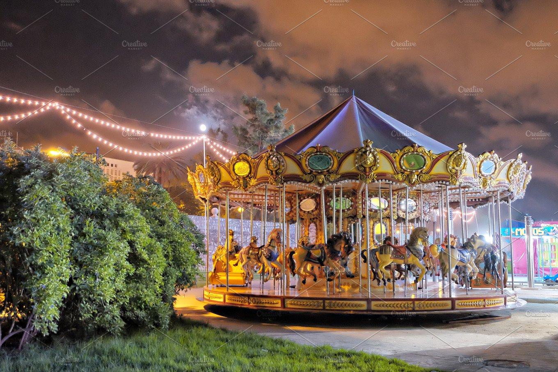 Vintage carousel at night ~ Arts & Entertainment Photos ...