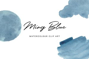 Ming Blue Watercolour Clip Art