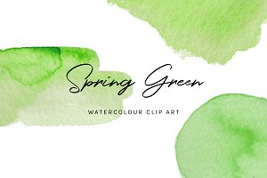 Spring Green: Watercolour Clip Art