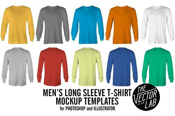 3f8a8996 Long Sleeve T-Shirt Mockup Templates ~ Product Mockups ~ Creative Market