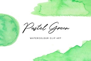 Pastel Green: Watercolour Clip Art