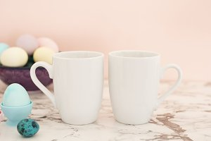 Two White Mugs Mockup - Easter theme