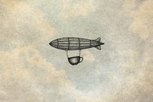 Hand Draw Airship with Coffee Cup