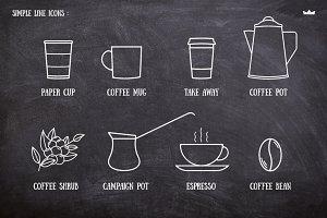 8 Line Coffee Icons