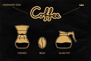 Handmade Retro Coffee Sign and Icons
