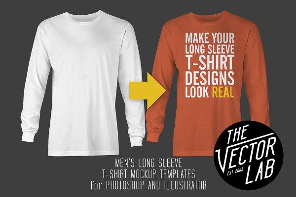 Long Sleeve T-Shirt Mockup Template…