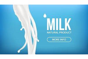 Milk Splash Vector. Cream Liquid