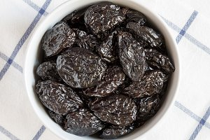 Full bowl of dry prunes