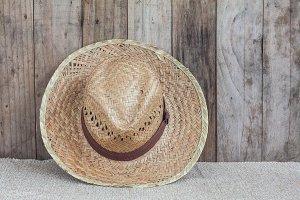 Brown wicker hat