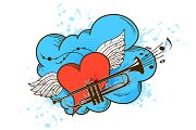 Musical Retro Background with Heart