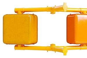 Traffic sign light orange, back view