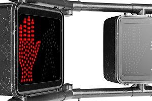 Traffic sign light black, close view