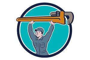 Plumber Lifting Monkey Wrench Circle