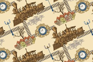 Pattern of vintage train