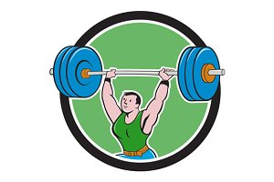 Weightlifter Lifting Barbell Circle