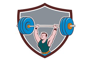 Weightlifter Lifting Barbell Shield