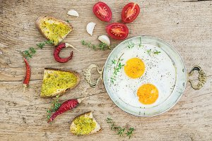 Breakfast set with roasted eggs