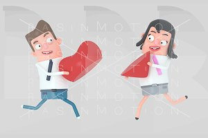 Couple in love running and holding h