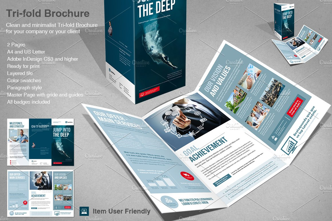 corporate tri fold brochure templates on creative market
