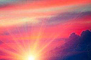 Beautiful bright sunset. Heavenly ba