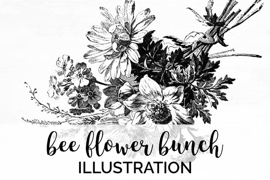 bee flower bunch Vintage Flowers
