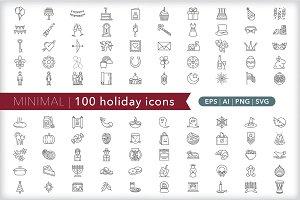 Minimal 100 holiday icons