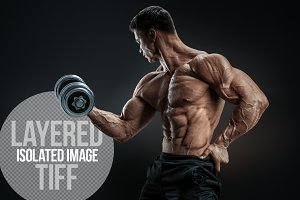 Athletic man with dumbbell (layered)