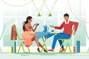 Couple in cafe on date