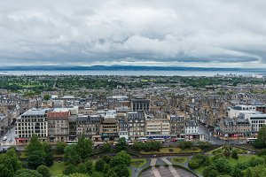 Edinburgh city view from the castle