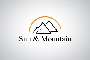Sun and Mountain Logo Template