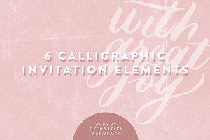 Six Calligraphic Invitation Elements