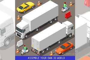Flat 3d Vehicle Vespa Truck Set