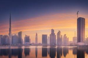 Panorama of Dubai Business bay, UAE