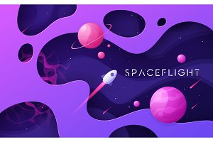 Colorful cartoon outer space