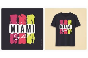 Miami surf. Graphic tee shirt design