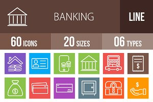 60 Banking Line Multicolor Icons