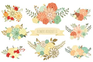 Flowers Bouquet II (vector set)
