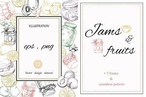 Jams & fruits (in vector)